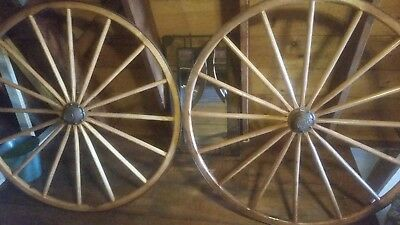"Pair of Antique ""RARE"" wooden wagon wheels, 50"", 16 spokes, EXCELLENT shape."