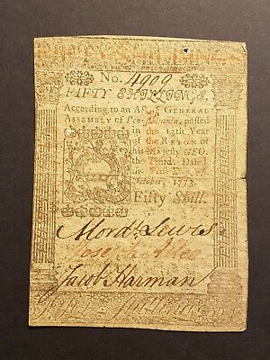 1773 Pennsylvania Fifty Shilling Colonial Currency Note No.4909