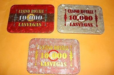 Casino Royale 3 pieces  $ 10,000 each  MSK Sample Plaques  Fantasy N.C.V.