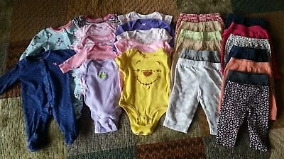 Lot Of 25 Pieces Baby Girl Clothes New and Gently Used, NB thru 3-6 months