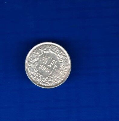 Swiss Helvetia 1/2 Francs 1951.  ( BOX 163   -  SILVER  top quality