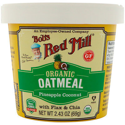 Bob's Red Mill Pineapple Coconut Organic Oatmeal 12 (2.43 oz) Cups Free Shipping
