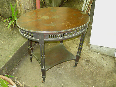 Antique Oval Occasional Table ~ Coffee Side Trolley w Fretwork Skirt Australian