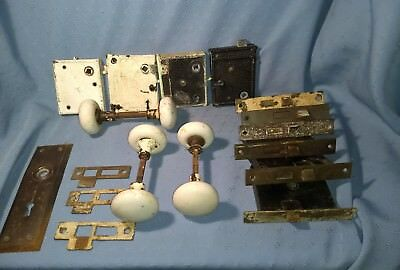 Lot of Antique Door Hardware including Handles, Mortise Locks and Strike Plates