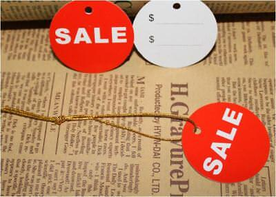 50PCS Red Cardboard Sale Round 45mm Tag Label Shop Store Retail