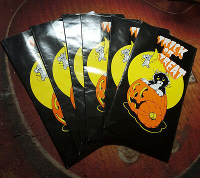 Lot Of 6 Vintage 1990s Halloween Trick Or Treat Loot Candy Bags Jack O