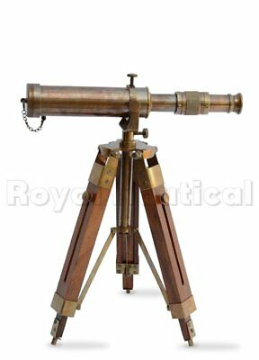 Antique Nautical Gift Decorative Vintage Solid Brass Telescope w/ Wooden Tripod