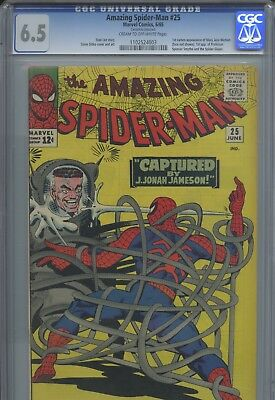 Amazing Spider-Man 25 CGC 6.5 CR/OW pages 1st MJ (cameo) & 1st Spencer Smythe!