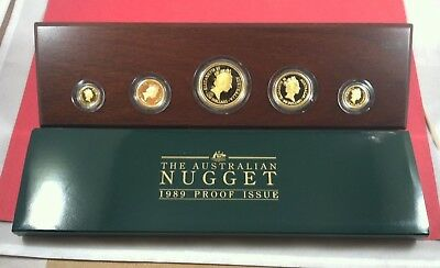 1989 Australian Nugget 5 Coin Proof Set 1OZ to 1/20 OZ