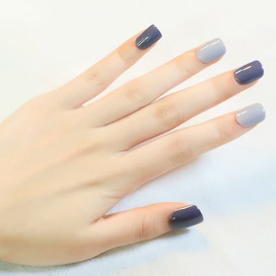 D196 24Pcs Japanese Style Starry Sky Non Glue Drill Nail Tips Fake Nails A