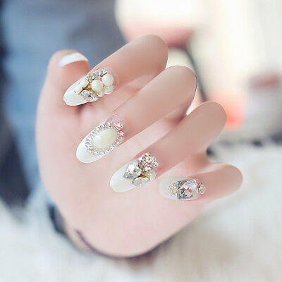 D113 Japanese Style Simple Bling Bling Non Glue Drill Nail Tips Fake Nails A