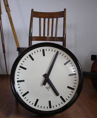 Large PRAGOTRON  49 cm Vintage Bakelite Industrial Clock Factory Depth 10,5 cm