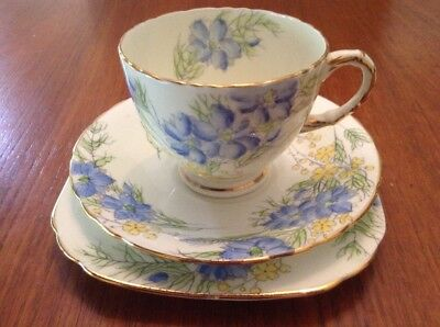 Vintage Sutherland Fine Bone China Trio - Blue Floral - EC - High Tea