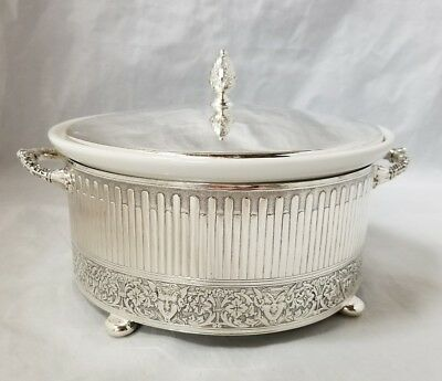 Reed & Barton #1174 Renaissance Pattern Silver Plate Covered & Footed Casserole