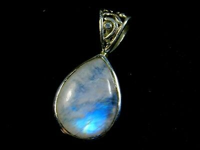 Pure 925 Sterling Silver, Healing Silver Pendant With Natural Rainbow Moonstone