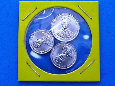 Thailand Set of 3 Uncirculated Small Coins in Cardboard Holder