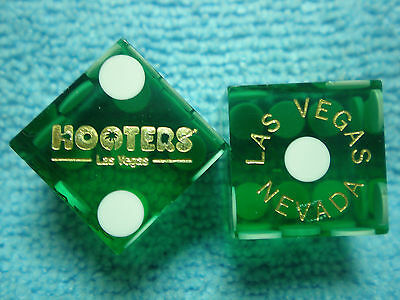 Pair of HOOTERS LV Casino Dice - Clear Green, Matching #s
