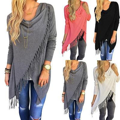 AU Womens Irregular Tassel Draped Cardigan Coat Jackets Jumpers Poncho Loose Top