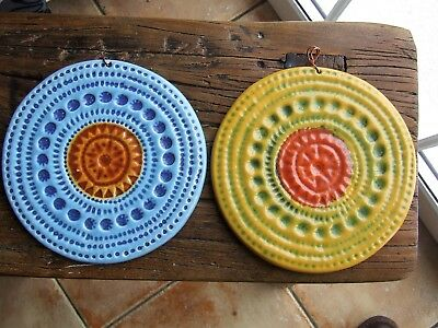 Pair John Ffrench Wall Plates Displays Arklow Studio Pottery
