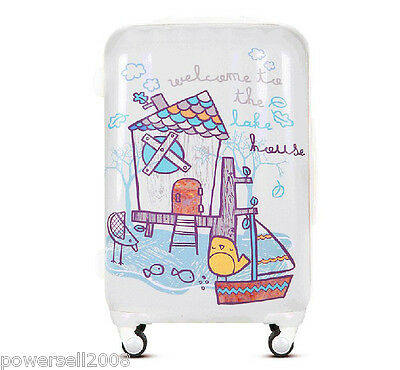 "28"" New Lovely Cartoon Birds Universal Wheel ABS+PC Travel Suitcase Luggage LLX"