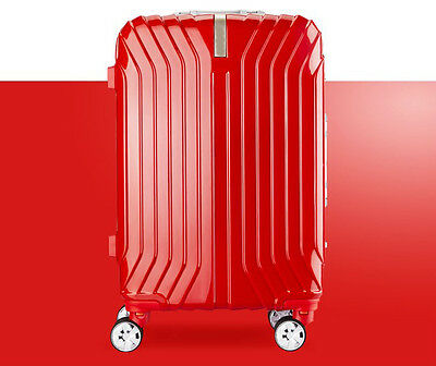 "24"" Red Business Universal Wheel TSA Lock Stripe Travel Suitcase Luggage Trolley"