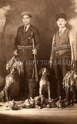 ANTIQUE REPRO 8 x 10 PHOTOGRAPH HUNTING DEAD BIRDS GERMAN SHORTHAIR POINTERS