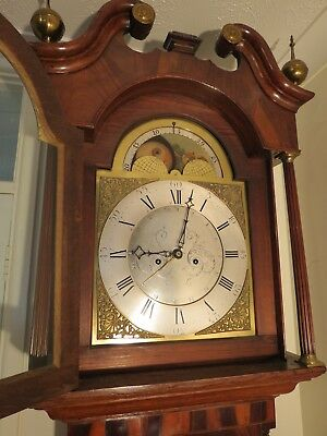 Antique Brass Dial Longcase Clock. Simpson Wigton. Moon. Centre Date. c1770.