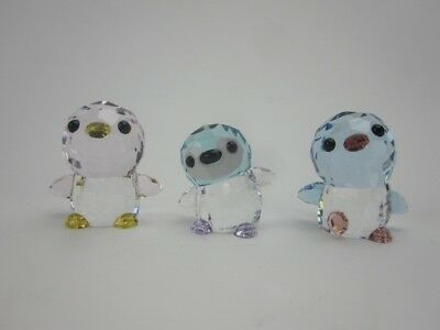Swarovski Set SCS Mama Penguin Papa Penguin and Big Brother Paco Penguin
