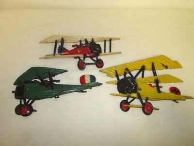 Vintage WWI Airplane Metal Wall Plaques Lot of 3 /  Homco 1975