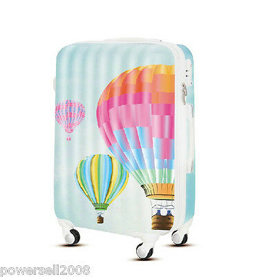"28""TSA Lock Universal Wheel Hot Air Balloon Print ABS+PC Travel Suitcase Luggage"