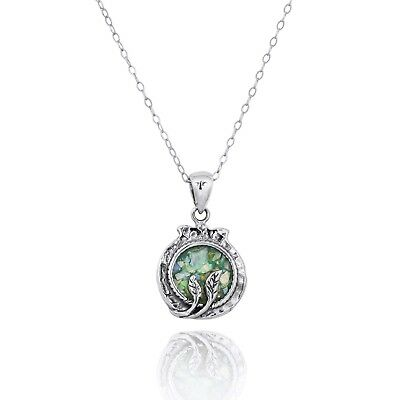 Pomegarnate 925 Sterling Silver Pendant With Ancient Roman Glass Amazing Jewelry