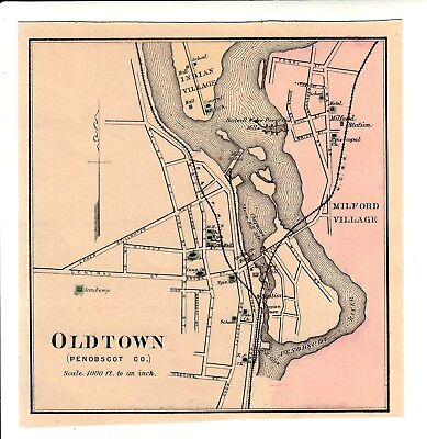 1888 Old Town Maine Colby atlas map w/place names