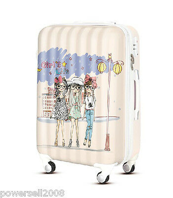 "28"" TSA Lock Universal Wheel Pink Girl Print Ultralight Travel Suitcase Luggage"