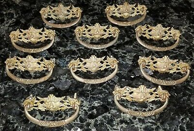 Antique Victorian Gothic Ornate Gargoyle Creature Brass Drawer Pulls Handles x10