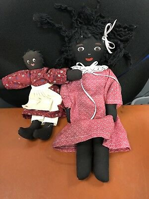 VINTAGE BLACK AMERICANA FOLK ART DOLL, set of two