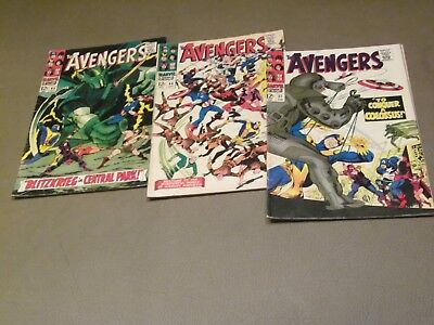 AVENGERS Silv Age Lot #s 37 44 45 ('67) avg VG++ Cheap Shipping