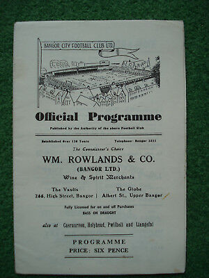 Bangor City FC v AC Napoli Programme. 5 September 1962. European Cup Winners Cup