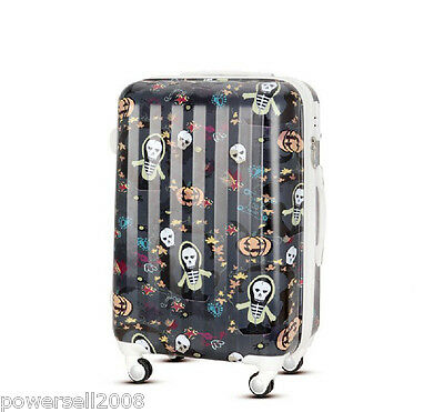 "28"" New Fashion Skeleton Head Universal Wheel ABS+PC Travel Suitcase Luggage LLX"