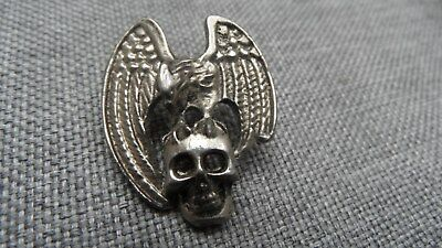 alter BIKER CHOPPER MOTORRAD SKULL TOTENKOPF PIN BADGE, 30 x 25 mm, METALL