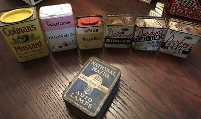 Lot of Antique Vintage spice container tins and an auto lamp tin