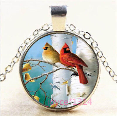 Northern Cardinal Cabochon Silver/Bronze/Black/Gold Glass Chain Necklace #6683