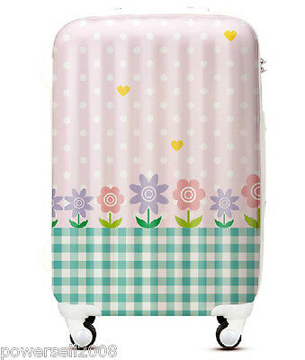 "28"" TSA Lock Universal Wheel Pink Polka Dot Green Plaid Travel Suitcase Luggage"