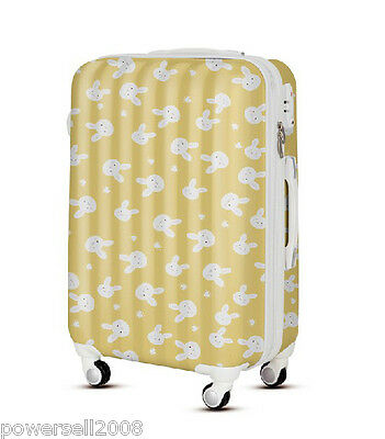 "28"" TSA Lock Universal Wheel Yellow Rabbits Print ABS+PC Travel Suitcase Luggage"
