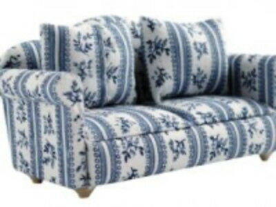 Dolls House Miniature 1:12th Scale Blue Floral Sofa