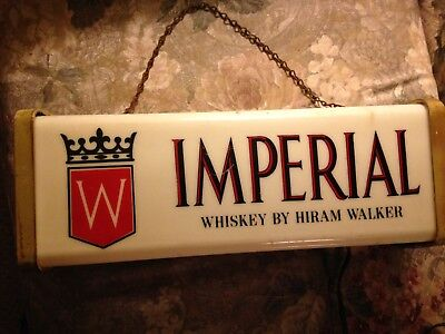 Vintage Imperial Whiskey by Hiram Walker Lighted Plastic Sign