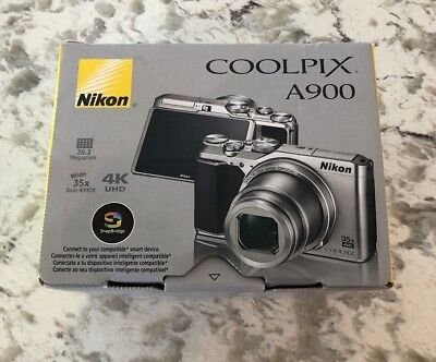 Mint Nikon Coolpix A900 Silver Digital Camera, 20.3 Megapixels, 4K UHD, 35x Zoom