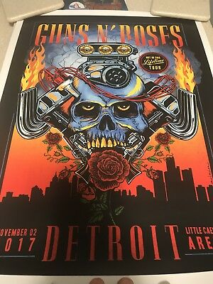 Guns N Roses Lithograph Poster Detroit MI #117/300  Limited Edition - Sold Out!