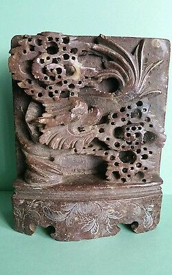Old Antique Vintage Chinese Soapstone Carving Dragon Figure Handcarved Brown