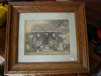 Old vintage Photo in oak Frame  6 Hungry Women in  Log Cabin    Must see this