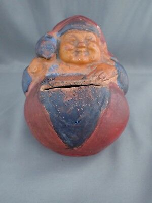 Antique Redware Pottery Roly Poly Rolly Polly Figural Coin Penny Bank Excellent